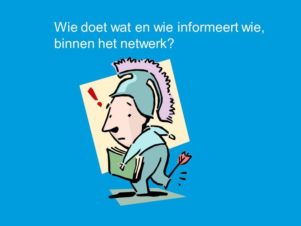 Wie doet wat en wie informeert wie, binnen het netwerk?