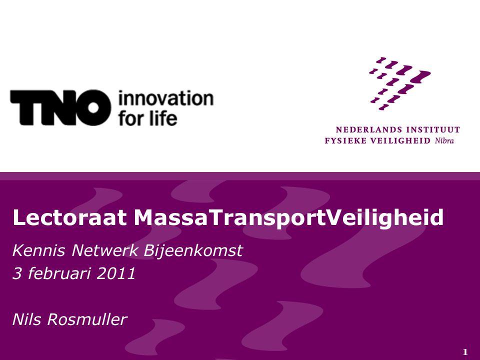 1 Lectoraat MassaTransportVeiligheid Kennis Netwerk Bijeenkomst 3 februari 2011 Nils Rosmuller