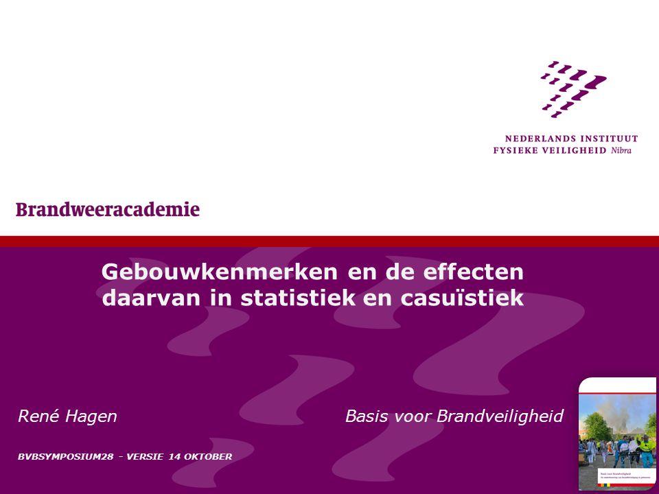 1 Gebouwkenmerken en de effecten daarvan in statistiek en casuïstiek René Hagen Basis voor Brandveiligheid BVBSYMPOSIUM28 - VERSIE 14 OKTOBER