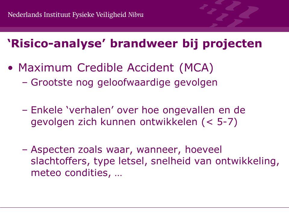 'Risico-analyse' brandweer bij projecten Maximum Credible Accident (MCA) –Grootste nog geloofwaardige gevolgen –Enkele 'verhalen' over hoe ongevallen
