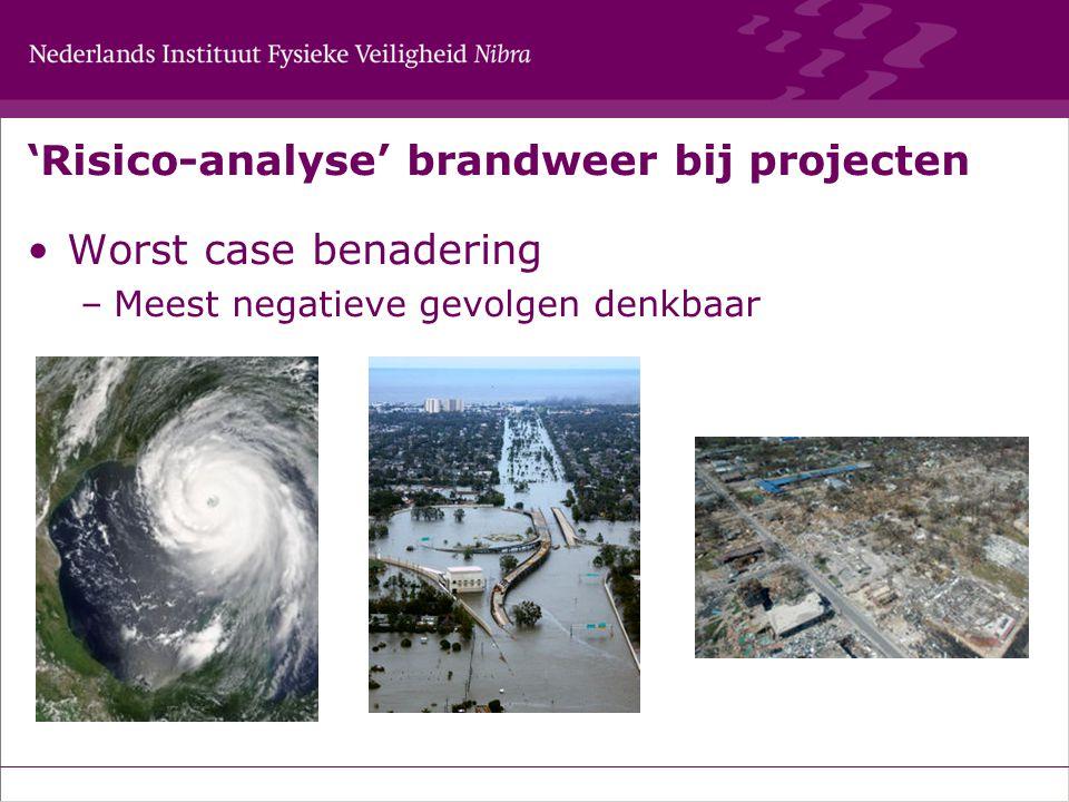 'Risico-analyse' brandweer bij projecten Worst case benadering –Meest negatieve gevolgen denkbaar
