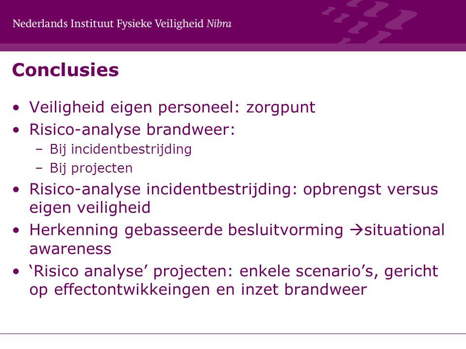 Conclusies Veiligheid eigen personeel: zorgpunt Risico-analyse brandweer: –Bij incidentbestrijding –Bij projecten Risico-analyse incidentbestrijding: