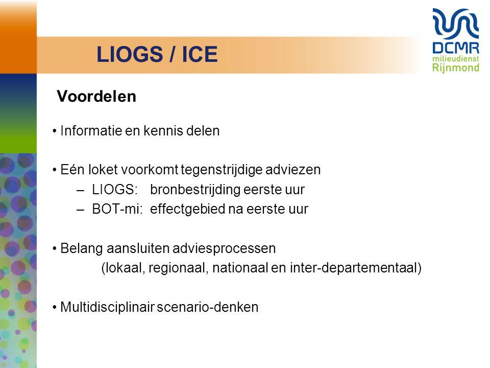 Voordelen Informatie en kennis delen Eén loket voorkomt tegenstrijdige adviezen –LIOGS: bronbestrijding eerste uur –BOT-mi: effectgebied na eerste uur