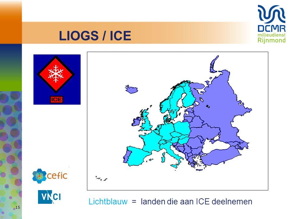 Lichtblauw = landen die aan ICE deelnemen 15