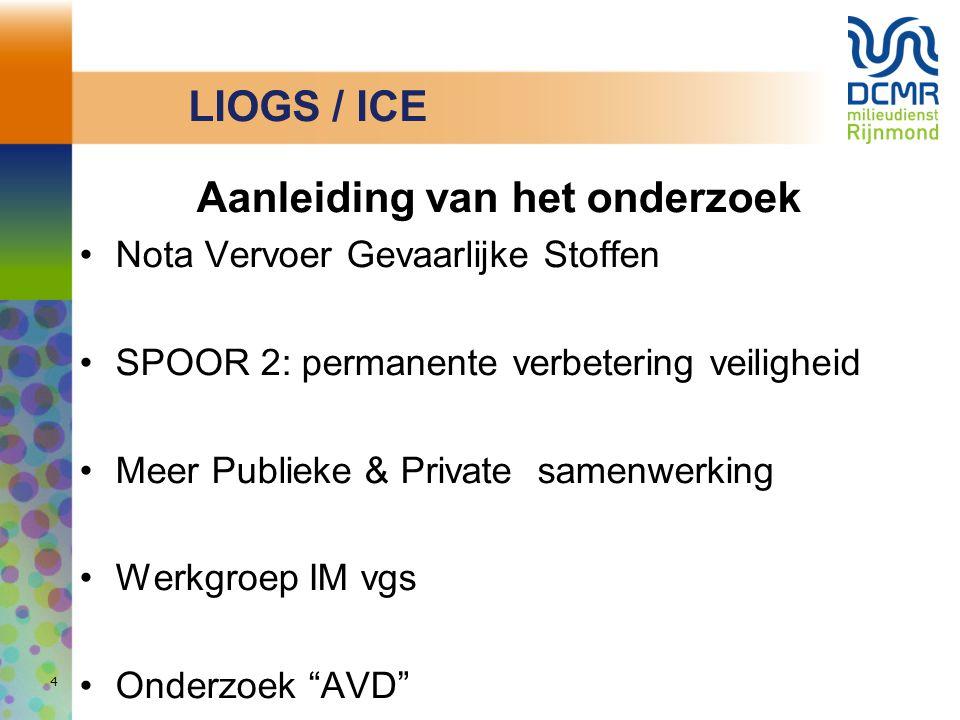 LIOGS / ICE Aanleiding van het onderzoek Nota Vervoer Gevaarlijke Stoffen SPOOR 2: permanente verbetering veiligheid Meer Publieke & Private samenwerk