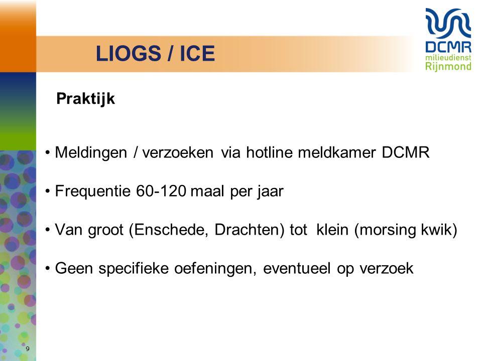 9 Praktijk Meldingen / verzoeken via hotline meldkamer DCMR Frequentie 60-120 maal per jaar Van groot (Enschede, Drachten) tot klein (morsing kwik) Ge