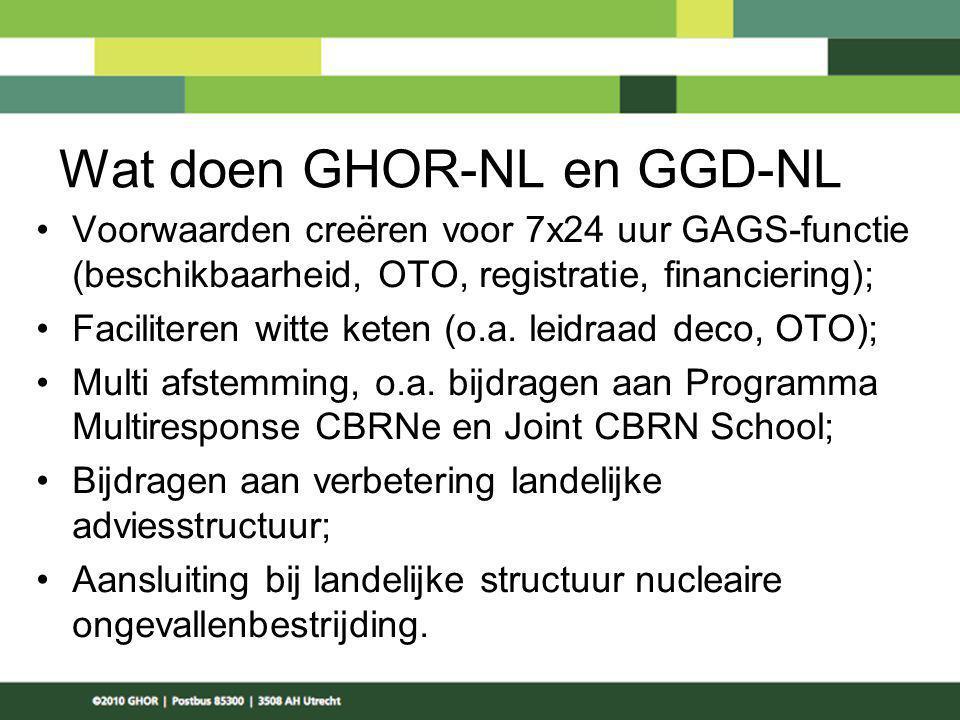 Wat doen GHOR-NL en GGD-NL Voorwaarden creëren voor 7x24 uur GAGS-functie (beschikbaarheid, OTO, registratie, financiering); Faciliteren witte keten (