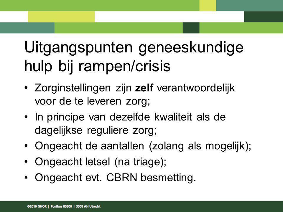 Uitgangspunten geneeskundige hulp bij rampen/crisis Zorginstellingen zijn zelf verantwoordelijk voor de te leveren zorg; In principe van dezelfde kwal