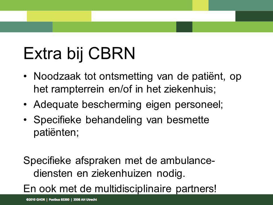 Extra bij CBRN Noodzaak tot ontsmetting van de patiënt, op het rampterrein en/of in het ziekenhuis; Adequate bescherming eigen personeel; Specifieke b
