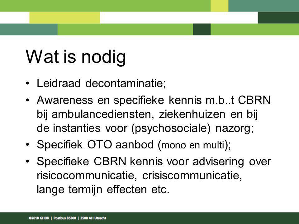 Wat is nodig Leidraad decontaminatie; Awareness en specifieke kennis m.b..t CBRN bij ambulancediensten, ziekenhuizen en bij de instanties voor (psycho