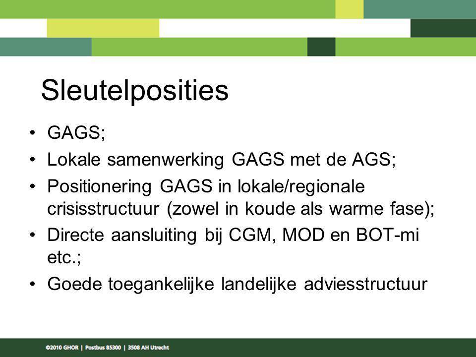 Sleutelposities GAGS; Lokale samenwerking GAGS met de AGS; Positionering GAGS in lokale/regionale crisisstructuur (zowel in koude als warme fase); Dir