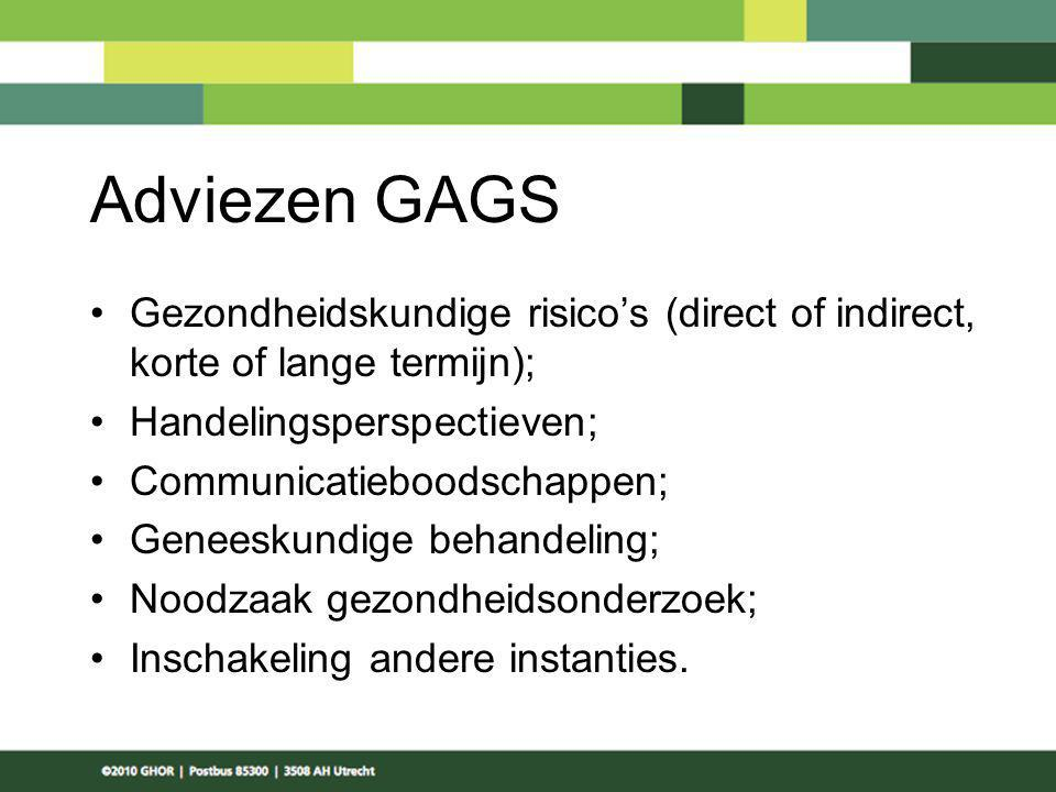 Adviezen GAGS Gezondheidskundige risico's (direct of indirect, korte of lange termijn); Handelingsperspectieven; Communicatieboodschappen; Geneeskundi