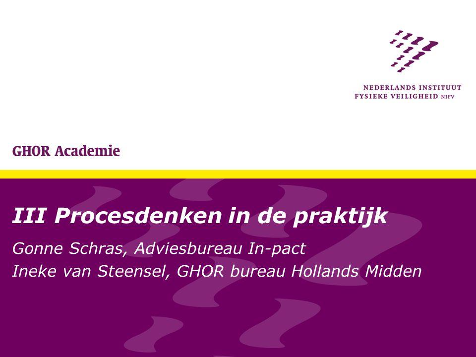 III Procesdenken in de praktijk Gonne Schras, Adviesbureau In-pact Ineke van Steensel, GHOR bureau Hollands Midden