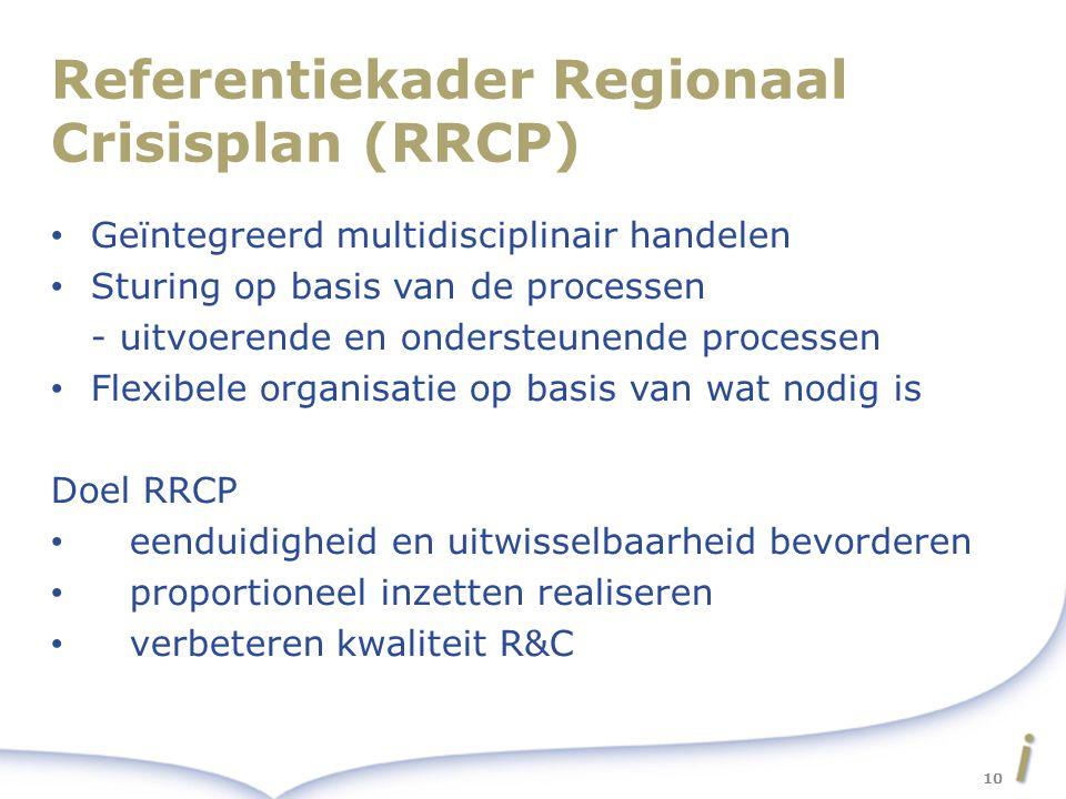 Referentiekader Regionaal Crisisplan (RRCP) Geïntegreerd multidisciplinair handelen Sturing op basis van de processen - uitvoerende en ondersteunende processen Flexibele organisatie op basis van wat nodig is Doel RRCP eenduidigheid en uitwisselbaarheid bevorderen proportioneel inzetten realiseren verbeteren kwaliteit R&C 10