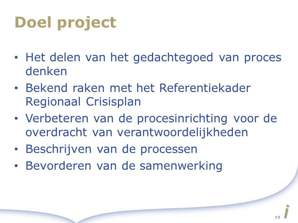 Doel project Het delen van het gedachtegoed van proces denken Bekend raken met het Referentiekader Regionaal Crisisplan Verbeteren van de procesinrichting voor de overdracht van verantwoordelijkheden Beschrijven van de processen Bevorderen van de samenwerking 19
