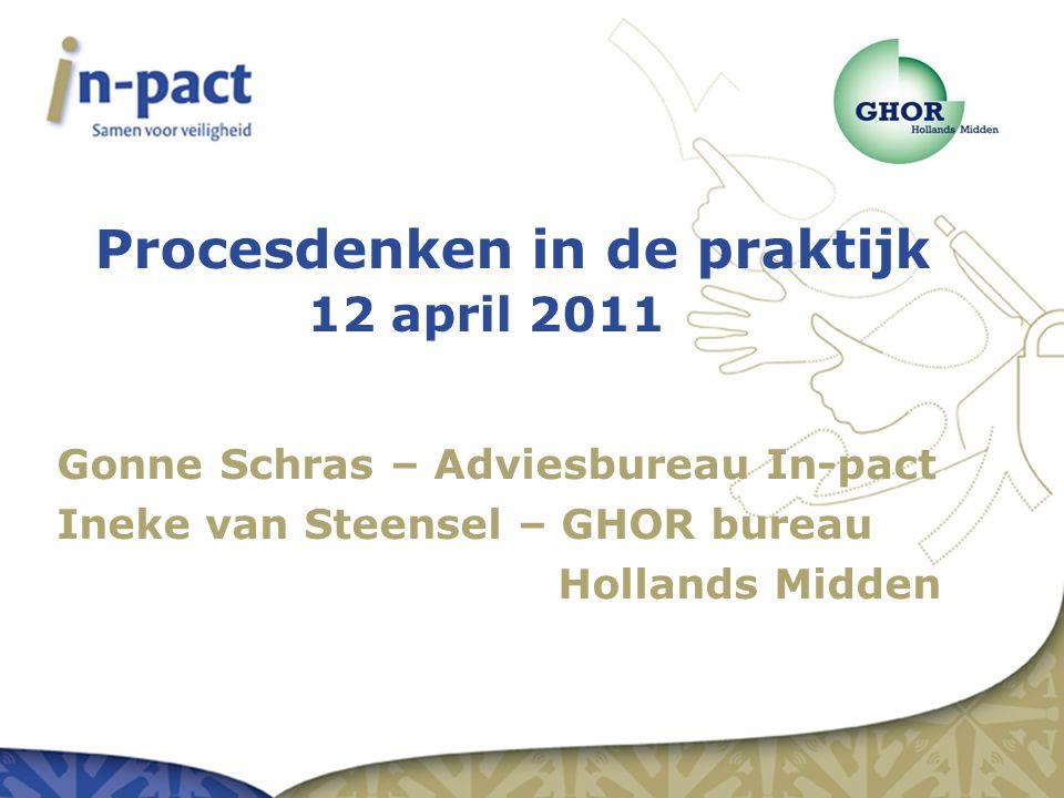Procesdenken in de praktijk 12 april 2011 Gonne Schras – Adviesbureau In-pact Ineke van Steensel – GHOR bureau Hollands Midden