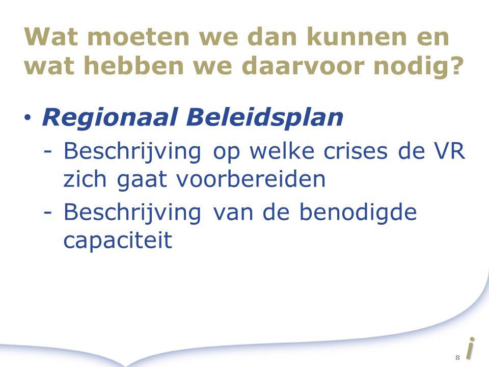 Wat moeten we dan kunnen en wat hebben we daarvoor nodig? Regionaal Beleidsplan -Beschrijving op welke crises de VR zich gaat voorbereiden -Beschrijvi