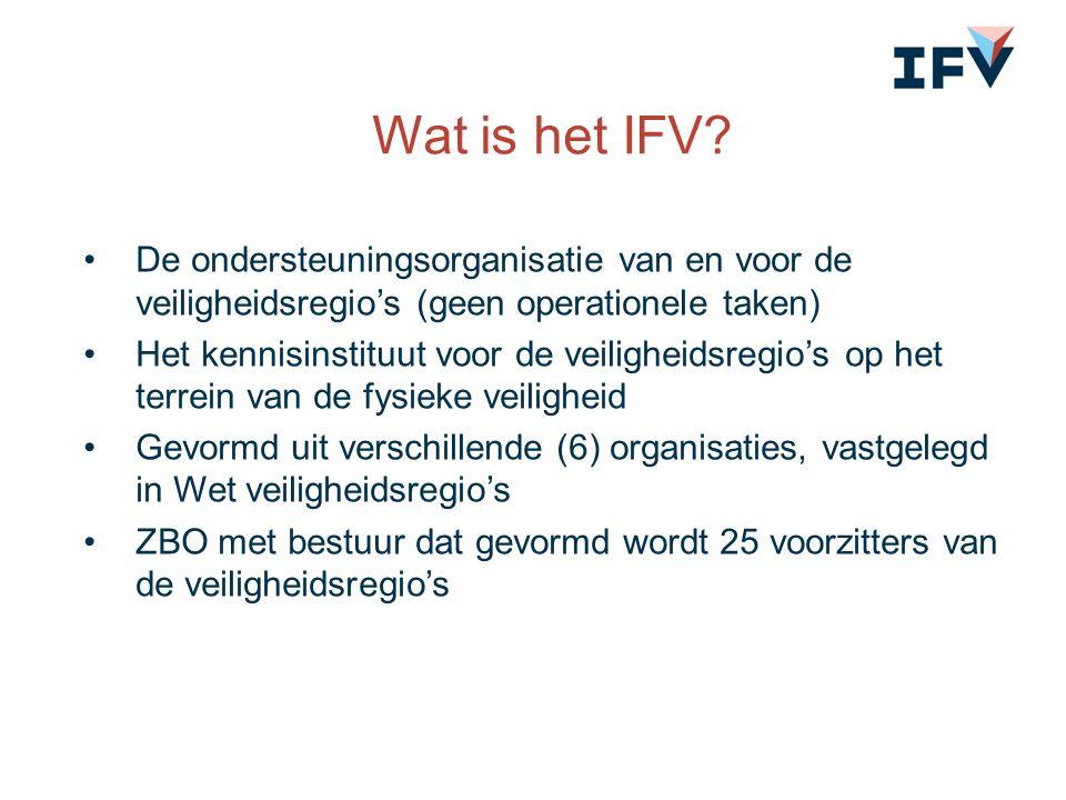 Wat is het IFV? De ondersteuningsorganisatie van en voor de veiligheidsregio's (geen operationele taken) Het kennisinstituut voor de veiligheidsregio'