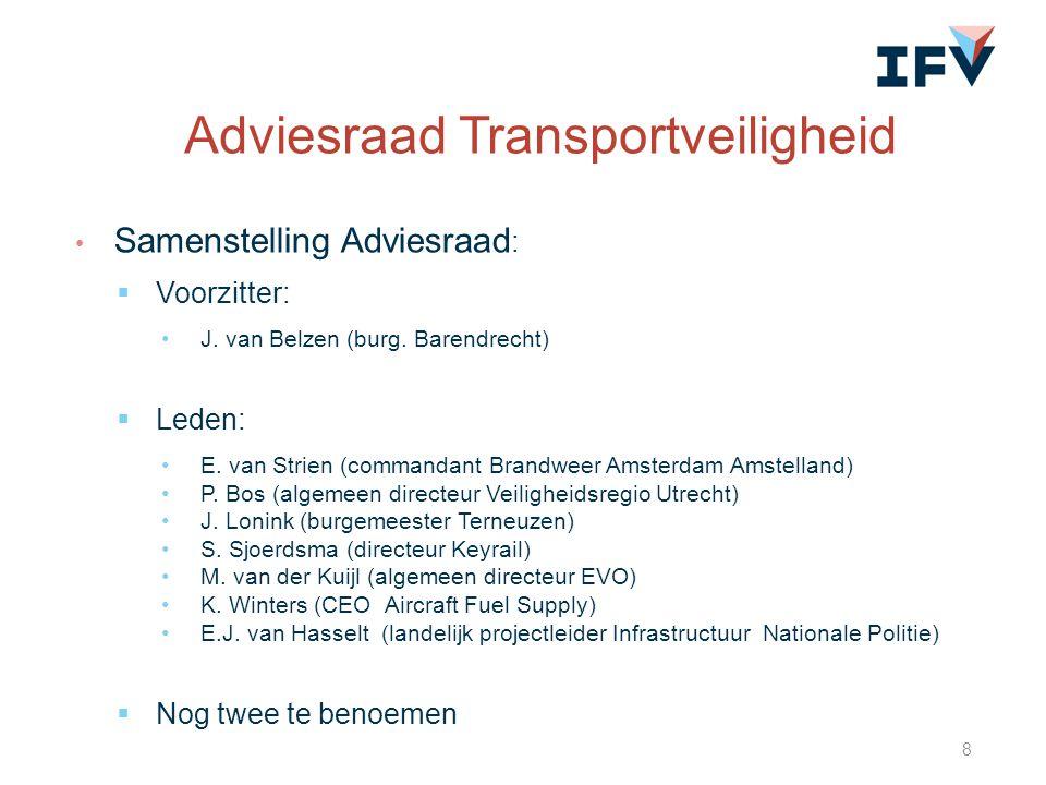 Samenstelling Adviesraad :  Voorzitter: J. van Belzen (burg. Barendrecht)  Leden: E. van Strien (commandant Brandweer Amsterdam Amstelland) P. Bos (