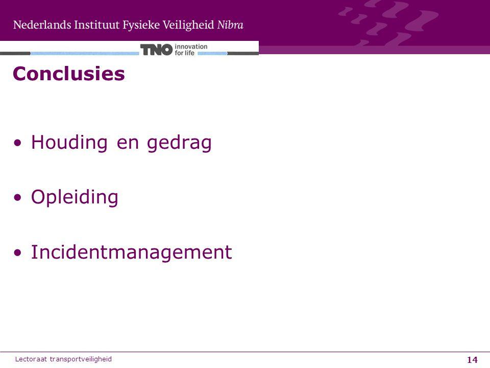 14 Conclusies Houding en gedrag Opleiding Incidentmanagement Lectoraat transportveiligheid