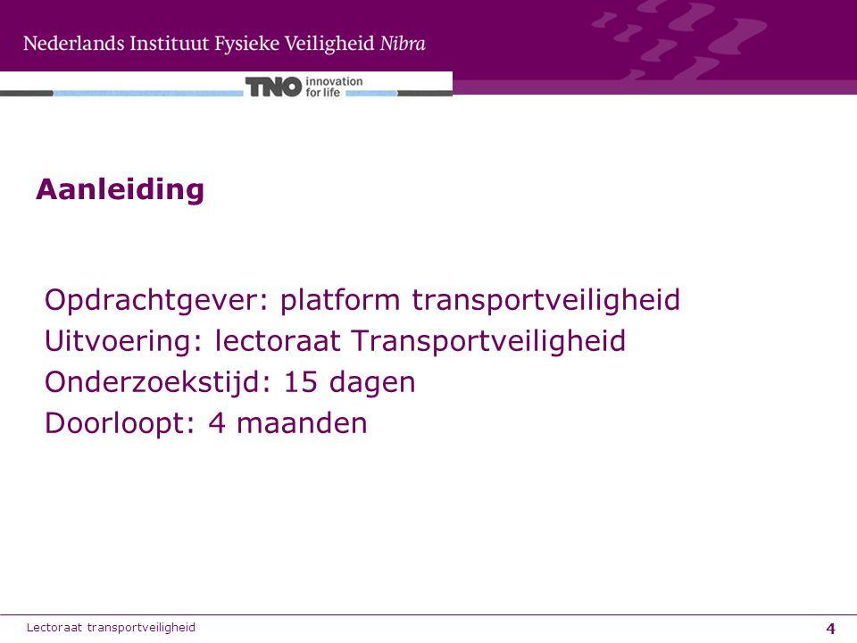 5 Doel en aanpak Doel: verbetermogelijkheden met betrekking tot de veiligheid van vervoer van gevaarlijke stoffen over de weg in Nederland te benoemen en te prioriteren Aanpak: –Vragenlijst met Platform, EVO en VNCI –Digitale enquete netwerk transportveiligheid en VNCI, EVO –Beoordeling verbetersuggesties Lectoraat transportveiligheid
