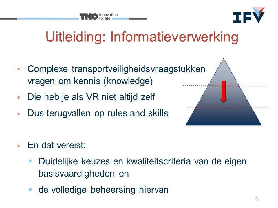  Complexe transportveiligheidsvraagstukken vragen om kennis (knowledge)  Die heb je als VR niet altijd zelf  Dus terugvallen op rules and skills 
