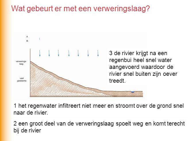 Maar wat gebeurt er met de verweringslaag en de rivier als de bomen worden gekapt? 1 het regenwater infiltreert niet meer en stroomt over de grond sne