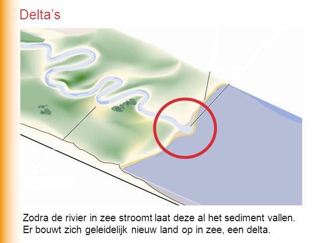 Zodra de rivier in zee stroomt laat deze al het sediment vallen. Er bouwt zich geleidelijk nieuw land op in zee, een delta. Delta's