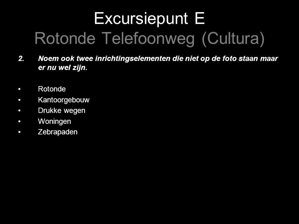 Excursiepunt E Rotonde Telefoonweg (Cultura) 2.Noem ook twee inrichtingselementen die niet op de foto staan maar er nu wel zijn.