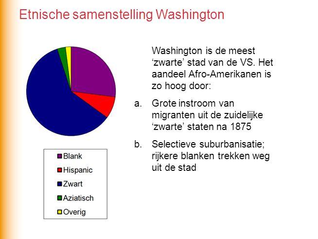 Washington is de meest 'zwarte' stad van de VS. Het aandeel Afro-Amerikanen is zo hoog door: a.Grote instroom van migranten uit de zuidelijke 'zwarte'