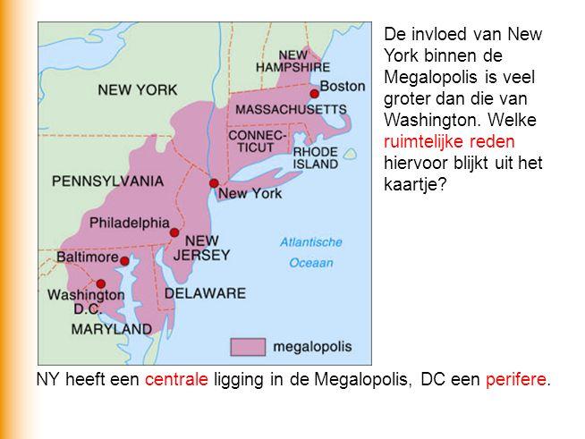 De invloed van New York binnen de Megalopolis is veel groter dan die van Washington. Welke ruimtelijke reden hiervoor blijkt uit het kaartje? NY heeft
