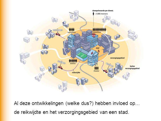 Al deze ontwikkelingen (welke dus?) hebben invloed op… de reikwijdte en het verzorgingsgebied van een stad.