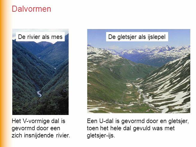 Het V-vormige dal is gevormd door een zich insnijdende rivier. Een U-dal is gevormd door en gletsjer, toen het hele dal gevuld was met gletsjer-ijs. D