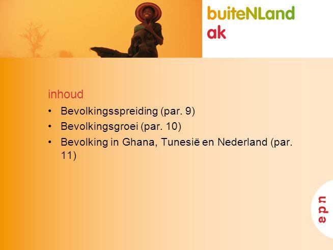 inhoud Bevolkingsspreiding (par. 9) Bevolkingsgroei (par. 10) Bevolking in Ghana, Tunesië en Nederland (par. 11)