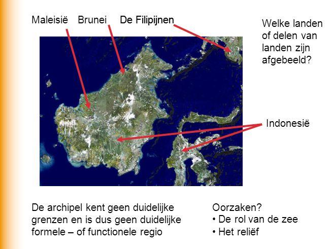 Welke landen of delen van landen zijn afgebeeld? Indonesië De Filipijnen BruneiMaleisië De archipel kent geen duidelijke grenzen en is dus geen duidel