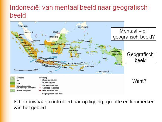 Is betrouwbaar, controleerbaar op ligging, grootte en kenmerken van het gebied Indonesië: van mentaal beeld naar geografisch beeld Mentaal – of geogra