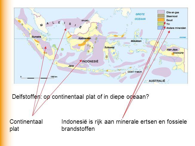 Delfstoffen: op continentaal plat of in diepe oceaan? Continentaal plat Indonesië is rijk aan minerale ertsen en fossiele brandstoffen