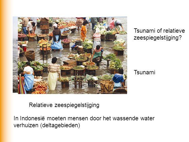 Tsunami of relatieve zeespiegelstijging? Tsunami Relatieve zeespiegelstijging In Indonesië moeten mensen door het wassende water verhuizen (deltagebie