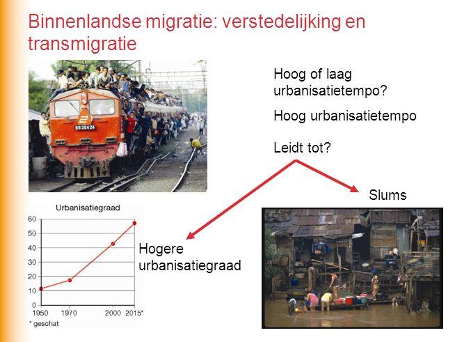Hoog of laag urbanisatietempo? Hoog urbanisatietempo Leidt tot? Hogere urbanisatiegraad Slums Binnenlandse migratie: verstedelijking en transmigratie
