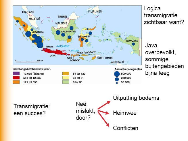 Logica transmigratie zichtbaar want? Java overbevolkt, sommige buitengebieden bijna leeg Transmigratie: een succes? Nee, mislukt, door? Uitputting bod