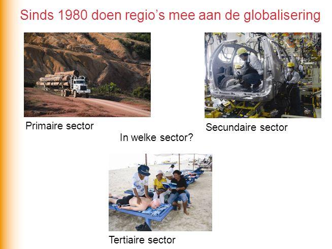 In welke sector? Tertiaire sector Primaire sector Secundaire sector Sinds 1980 doen regio's mee aan de globalisering