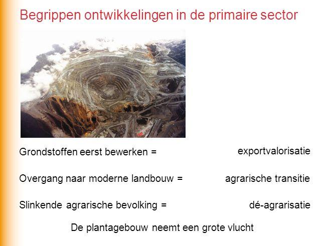 Grondstoffen eerst bewerken = exportvalorisatie Overgang naar moderne landbouw = Slinkende agrarische bevolking = agrarische transitie dé-agrarisatie