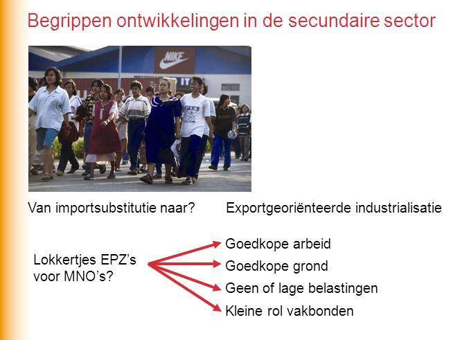 Van importsubstitutie naar? Exportgeoriënteerde industrialisatie Lokkertjes EPZ's voor MNO's? Goedkope arbeid Goedkope grond Geen of lage belastingen