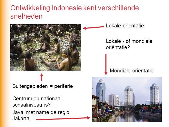 Centrum op nationaal schaalniveau is? Java, met name de regio Jakarta Lokale - of mondiale oriëntatie? Lokale oriëntatie Mondiale oriëntatie Buitengeb