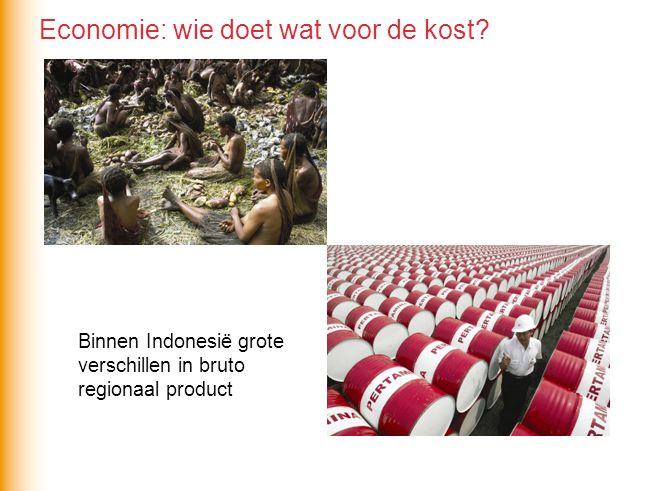 Op alle niveaus sprake van grote regionale ongelijkheid Indonesië nog geen semiperiferie, teveel mensen en regio's delen niet / onvoldoende in economische groei Bepaalt richting migratiestromen