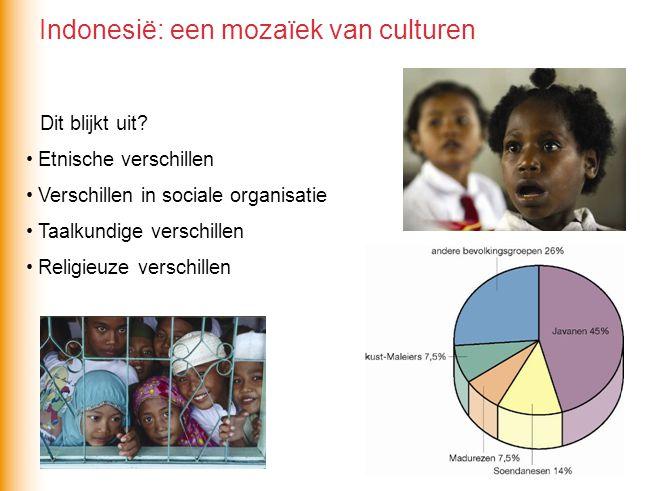 Dit blijkt uit? Etnische verschillen Verschillen in sociale organisatie Taalkundige verschillen Religieuze verschillen Indonesië: een mozaïek van cult