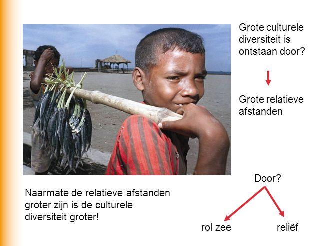 Grote culturele diversiteit is ontstaan door? Grote relatieve afstanden Door? rol zeereliëf Naarmate de relatieve afstanden groter zijn is de culturel
