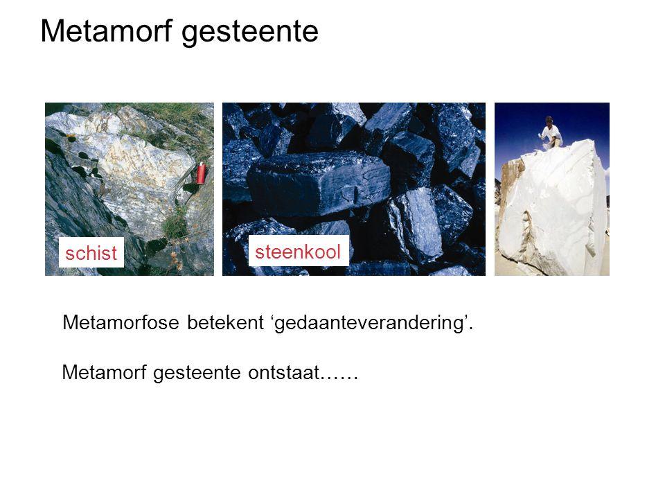 Metamorfose betekent ….. Metamorf gesteente ontstaat…… Metamorfose betekent 'gedaanteverandering'. schist steenkool Metamorf gesteente