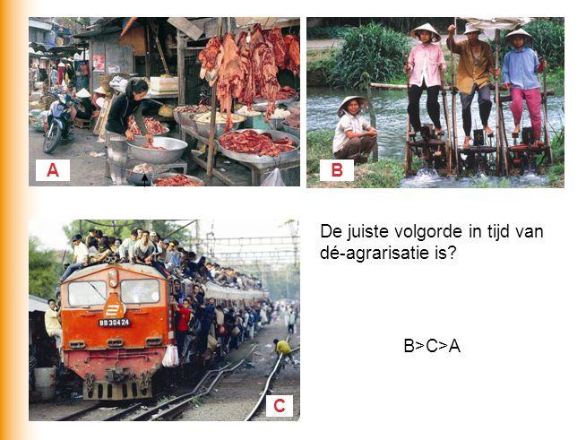 AB C De juiste volgorde in tijd van dé-agrarisatie is? B>C>A