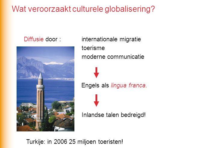 Diffusie door : internationale migratie toerisme moderne communicatie Engels als lingua franca.